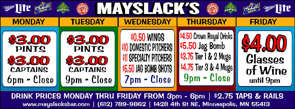 Mayslack's Drink Specials